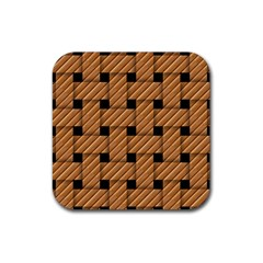 Wood Texture Weave Pattern Rubber Coaster (square)