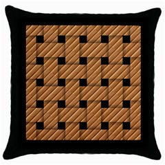 Wood Texture Weave Pattern Throw Pillow Case (Black)