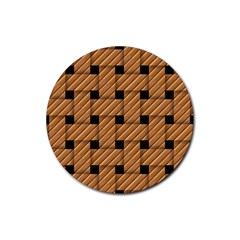 Wood Texture Weave Pattern Rubber Round Coaster (4 pack)