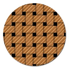 Wood Texture Weave Pattern Magnet 5  (Round)