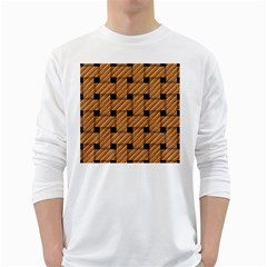 Wood Texture Weave Pattern White Long Sleeve T Shirts