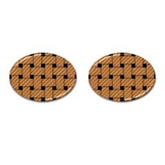 Wood Texture Weave Pattern Cufflinks (oval)