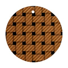 Wood Texture Weave Pattern Round Ornament (Two Sides)