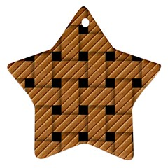 Wood Texture Weave Pattern Star Ornament (Two Sides)