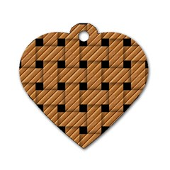Wood Texture Weave Pattern Dog Tag Heart (two Sides)
