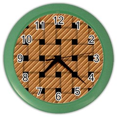 Wood Texture Weave Pattern Color Wall Clocks