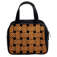 Wood Texture Weave Pattern Classic Handbags (2 Sides)