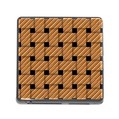 Wood Texture Weave Pattern Memory Card Reader (Square)