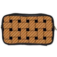 Wood Texture Weave Pattern Toiletries Bags