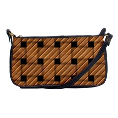 Wood Texture Weave Pattern Shoulder Clutch Bags