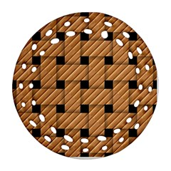 Wood Texture Weave Pattern Round Filigree Ornament (Two Sides)