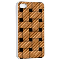 Wood Texture Weave Pattern Apple iPhone 4/4s Seamless Case (White)