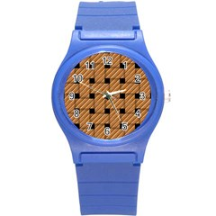 Wood Texture Weave Pattern Round Plastic Sport Watch (s)