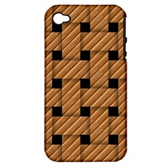 Wood Texture Weave Pattern Apple iPhone 4/4S Hardshell Case (PC+Silicone)