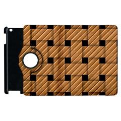 Wood Texture Weave Pattern Apple Ipad 3/4 Flip 360 Case