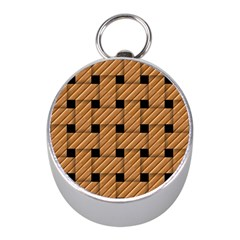 Wood Texture Weave Pattern Mini Silver Compasses