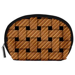 Wood Texture Weave Pattern Accessory Pouches (Large)