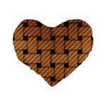 Wood Texture Weave Pattern Standard 16  Premium Flano Heart Shape Cushions Back