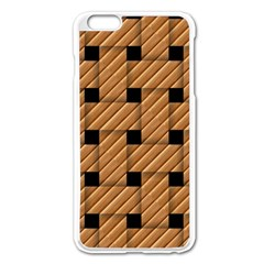 Wood Texture Weave Pattern Apple Iphone 6 Plus/6s Plus Enamel White Case
