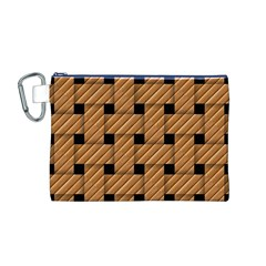 Wood Texture Weave Pattern Canvas Cosmetic Bag (m)