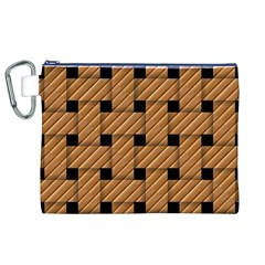 Wood Texture Weave Pattern Canvas Cosmetic Bag (XL)