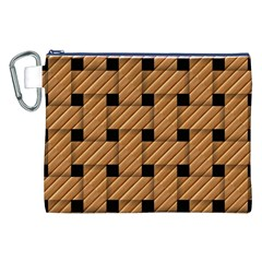 Wood Texture Weave Pattern Canvas Cosmetic Bag (xxl)