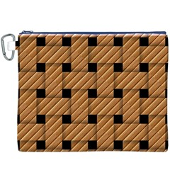 Wood Texture Weave Pattern Canvas Cosmetic Bag (xxxl)