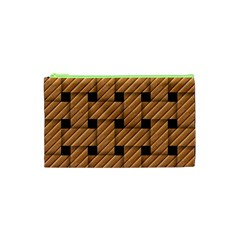 Wood Texture Weave Pattern Cosmetic Bag (xs)