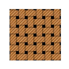 Wood Texture Weave Pattern Small Satin Scarf (square)