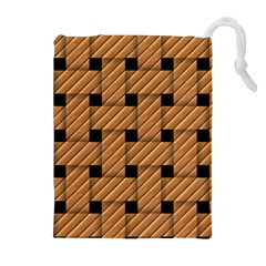 Wood Texture Weave Pattern Drawstring Pouches (extra Large)