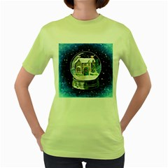 Winter Snow Ball Snow Cold Fun Women s Green T Shirt