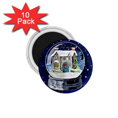 Winter Snow Ball Snow Cold Fun 1 75  Magnets (10 Pack)