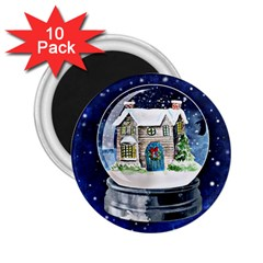 Winter Snow Ball Snow Cold Fun 2 25  Magnets (10 Pack)