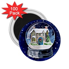 Winter Snow Ball Snow Cold Fun 2 25  Magnets (100 Pack)