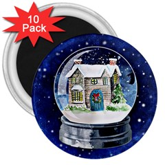 Winter Snow Ball Snow Cold Fun 3  Magnets (10 Pack)