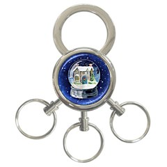 Winter Snow Ball Snow Cold Fun 3-Ring Key Chains
