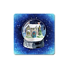 Winter Snow Ball Snow Cold Fun Square Magnet