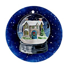 Winter Snow Ball Snow Cold Fun Round Ornament (two Sides)
