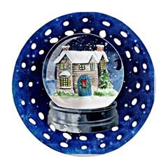 Winter Snow Ball Snow Cold Fun Ornament (Round Filigree)