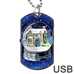 Winter Snow Ball Snow Cold Fun Dog Tag Usb Flash (two Sides)