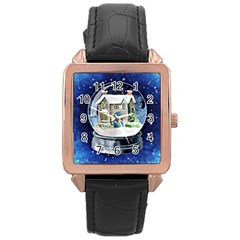 Winter Snow Ball Snow Cold Fun Rose Gold Leather Watch