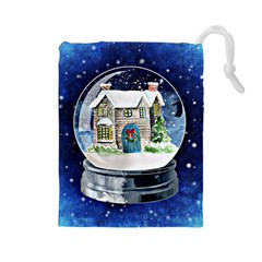 Winter Snow Ball Snow Cold Fun Drawstring Pouches (large)