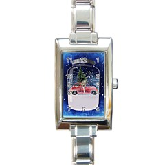 Winter Snow Ball Snow Cold Fun Rectangle Italian Charm Watch