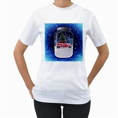 Winter Snow Ball Snow Cold Fun Women s T-Shirt (White) (Two Sided)