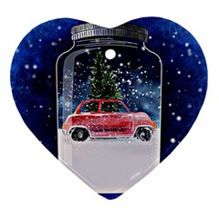 Winter Snow Ball Snow Cold Fun Heart Ornament (two Sides)