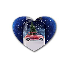 Winter Snow Ball Snow Cold Fun Rubber Coaster (heart)