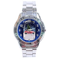 Winter Snow Ball Snow Cold Fun Stainless Steel Analogue Watch