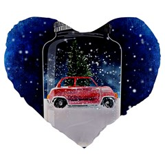 Winter Snow Ball Snow Cold Fun Large 19  Premium Flano Heart Shape Cushions