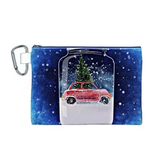 Winter Snow Ball Snow Cold Fun Canvas Cosmetic Bag (m)