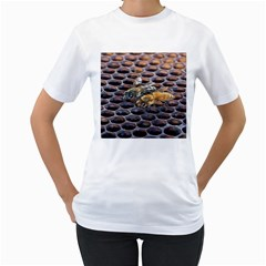 Worker Bees On Honeycomb Women s T-Shirt (White) (Two Sided)